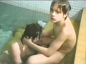 Nude boys suck each other in the pool - vintage sex tube