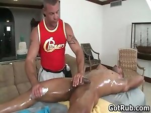 Sexy dude get his amazing body massaged