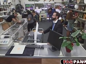 Guy in a nice suit fucked in pawn shop