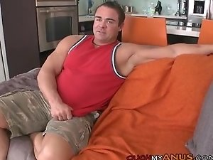 Mature stud gets gaped by a fat cock